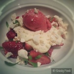 Strawberries & cream - baked meringue, fromage blanc & berry ice-cream