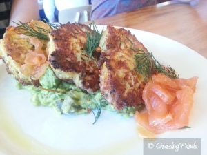 Charred Corn, Haloumi & Zucchini Fritters with Guacamole & House Smoked Salmon