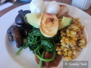 One Stone - Eggs, Mushrooms, Avocado, Spinach, Haloumi, House Smoked Corn and Tomato Relish