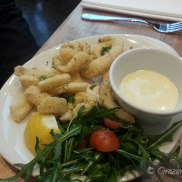 Calamari - Semolina dusted Calamari with Lemon Aioli and Lemon Rocket