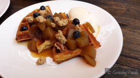 Applie Pie Waffles - Buttermilk Waffles with Maple Baked Apples, Pecan Crumb and Vanilla Bean Ice Cream