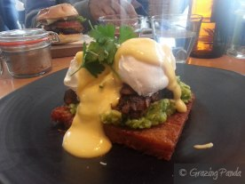 Oscar's Benedict on Potato Roesti, Smashed Avo, Poached Eggs and Tangy Hollandaise with Thyme Buttered Mushroom