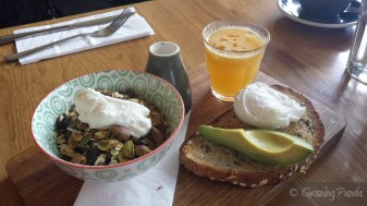 Breakkie Board - Museli, Poached Egg with Avocado on Whole Wheaet and Honey Toast, Small Fresh Orange Juice,