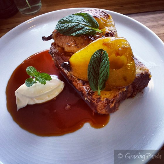 Brioche French Toast with Vanilla Poached Pears, Caramel Sauce, Double Cream