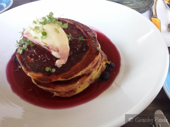 Lemon and Ricotta Pancakes - Pancakes with Berry Mascarpone, Fresh Blueberries, Topped with Berry Coulis