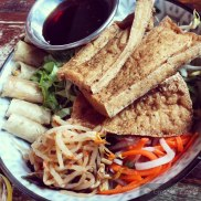 Silken Tofu - Wok Tossed Fried Silken Tofu and Vegetarian Spring Rolls