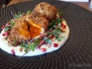 Dukkah Eggs - Spiced Crumbed Eggs, Pomegranate, Pinenuts & Cauliflower Puree