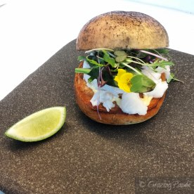 King Island Crayfish in an Ash Roll with Native Coastal Spinach, Lime & Yuzu Mayonnaise