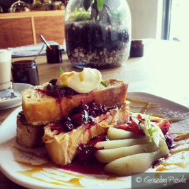 French Toast - Berry Compote, Poached Pear, Mascaprone Cheese and Mint