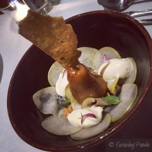 L'Altro Mondo - Formaggio con le pere - Poached Pear, Mascarpone Foam, Polenta Lavosh